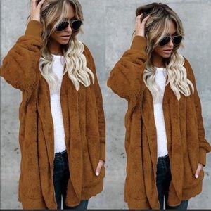 Tops - Teddy camel hoodie jacket